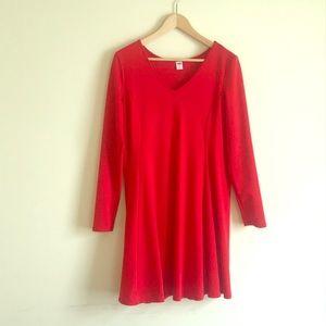 HOT RED V-NECK DRESS